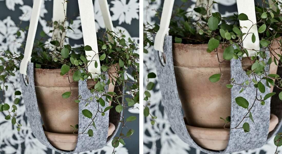 Jardinière suspendue en feutre gris