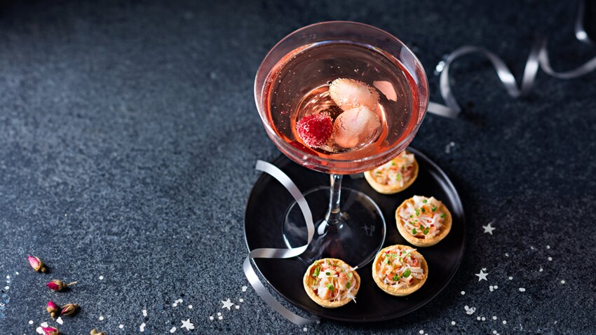 Tartelettes au crabe et cocktail Ispahan