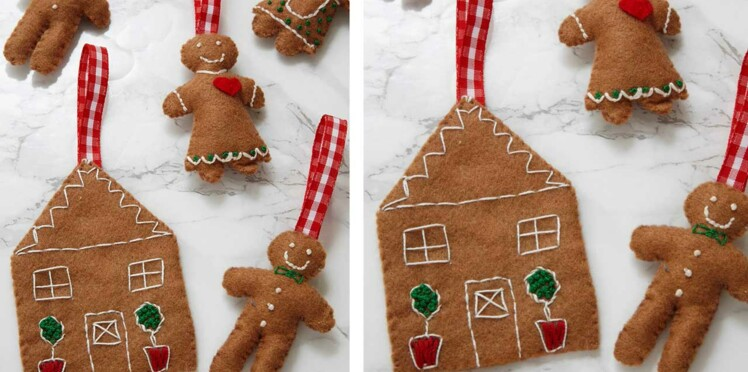 Noël : des petits bonshommes pain d'épices en feutrine