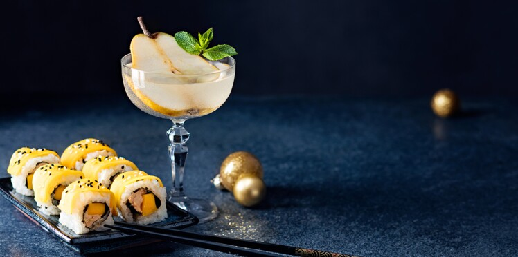 Makis de foie gras et pear martini