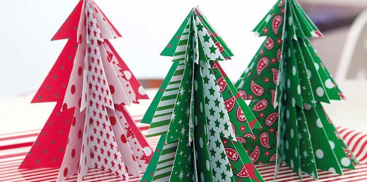 Des sapins de table à motif pour Noël