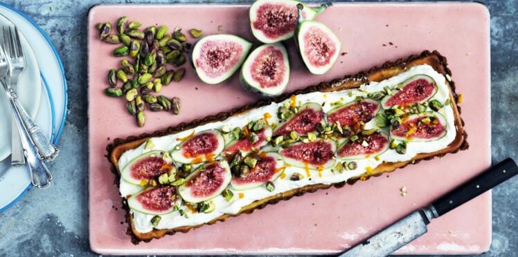 Tarte croquante figues-pistaches