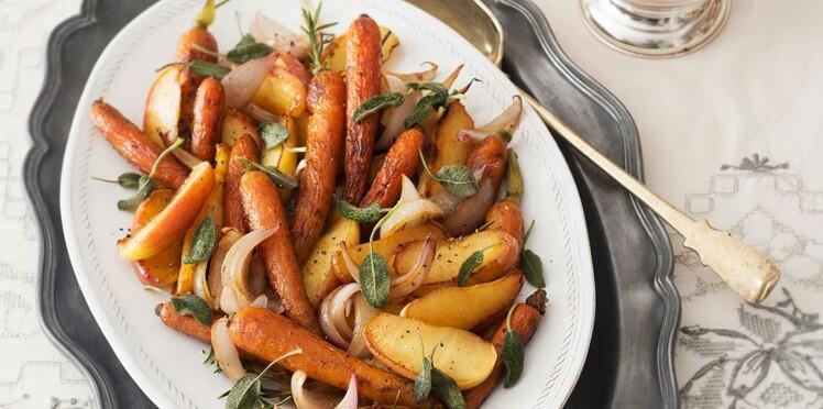 Carottes fanes et pommes de terre à la sauge rôties au four