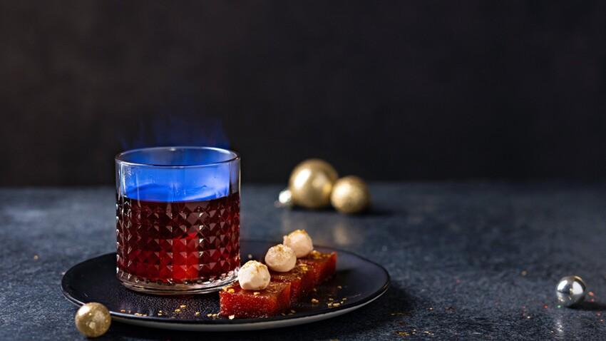 Pâtes de coing au chèvre et cocktail flambé