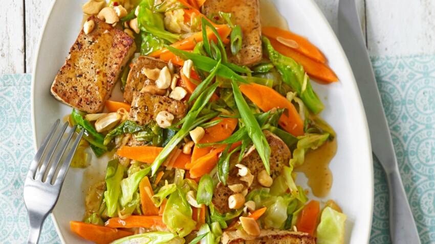 Tofu mariné sauté à l'asiatique