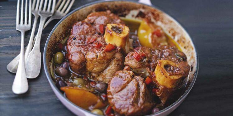 Jarret de veau aux olives et citron confit
