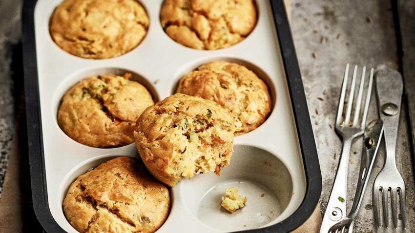 Muffins au cumin, carottes et cheddar