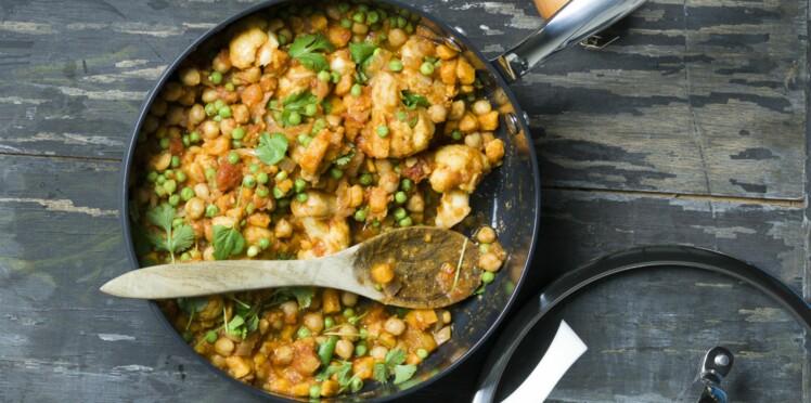 Curry de légumes à la poêle