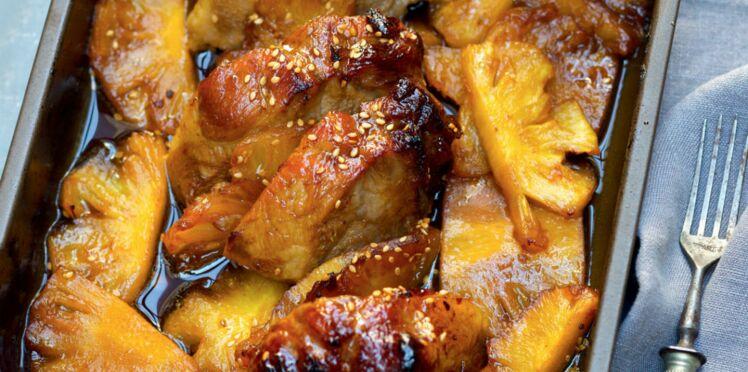 Echine de porc caramélisée à l'ananas