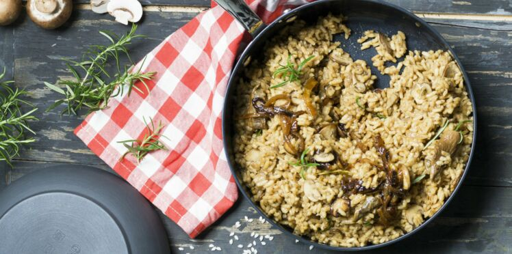 Risotto aux champignons et oignons caramélisés à la poêle