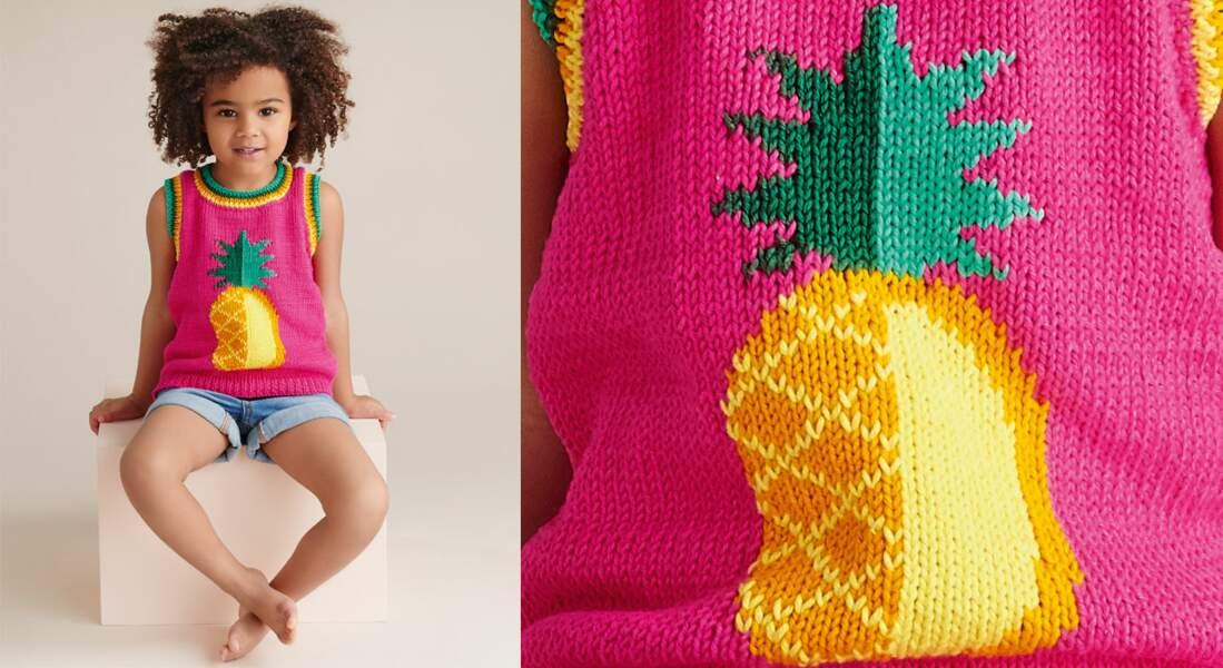 Le débardeur ananas tricoté