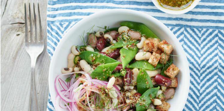 Salade aux 3 haricots, sauce piquante miel-moutarde