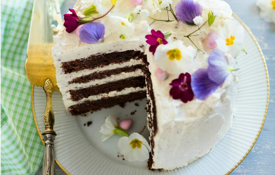 Layer cake chocolat et crème au mascarpone