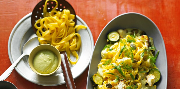 Tagliatelles aux légumes grillés et crème d'avocat