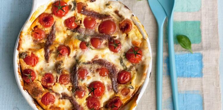 Clafoutis de mozzarella aux tomates cerises et anchois