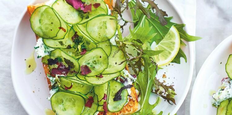 Tartines veggie au concombre et aux algues