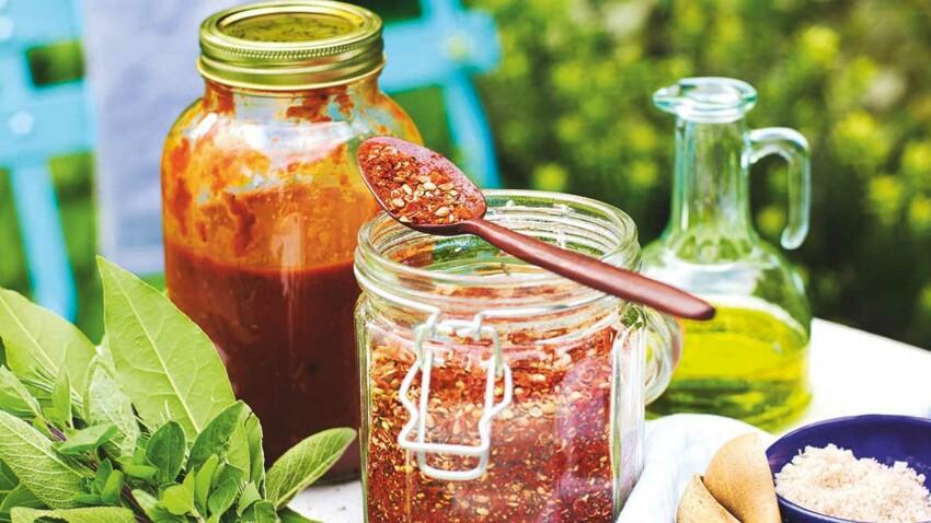 Mélange d'épices Cajun, sauce BBQ et autres marinades
