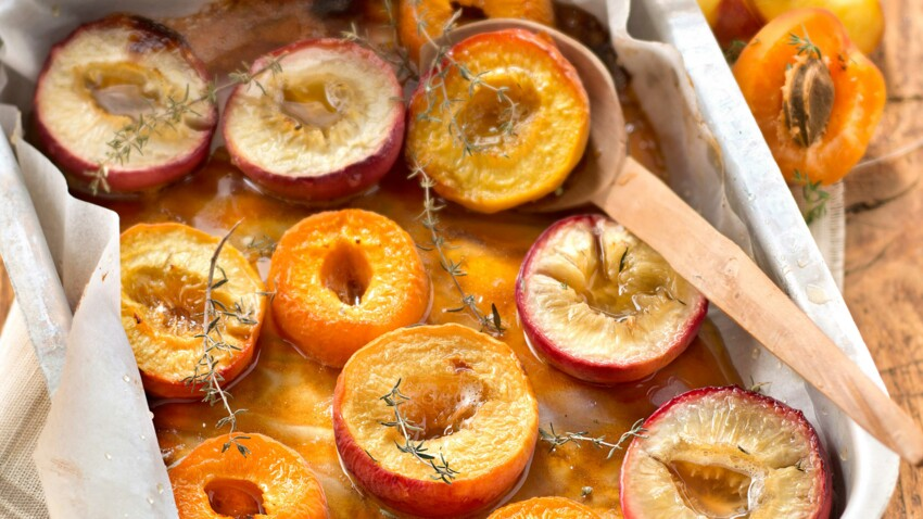 Fruits jaunes rôtis au miel et au thym