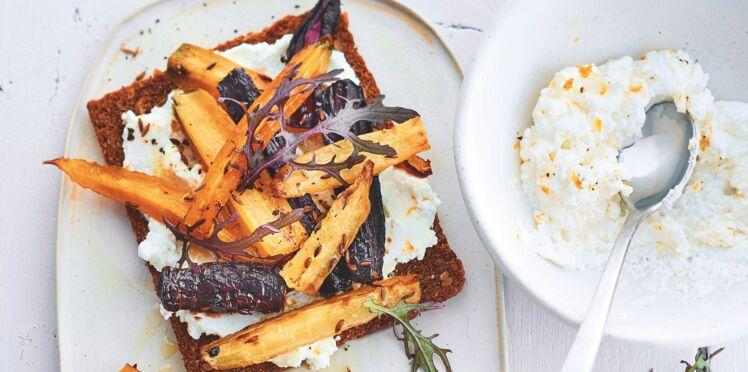 Tartines veggie de carottes au cumin