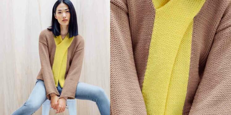 Le gilet bicolore au tricot