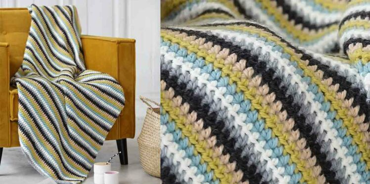 Le plaid rayé au crochet