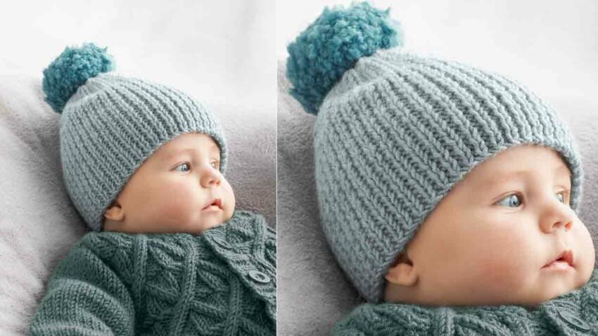 Le bonnet en côtes pour bébé
