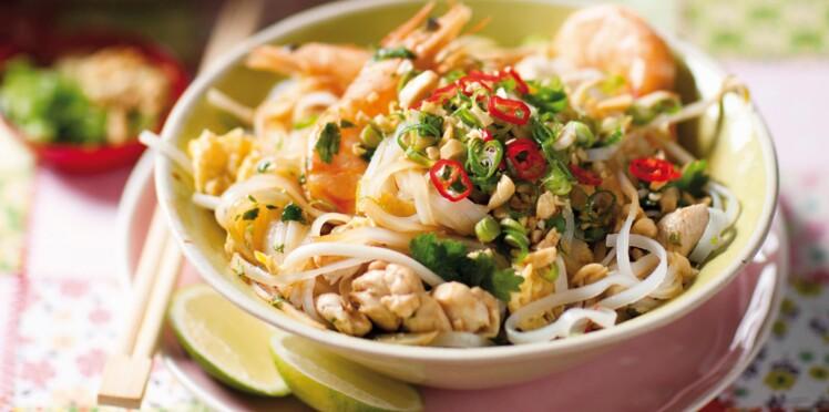 Nouilles pimentées au poulet et aux crevettes