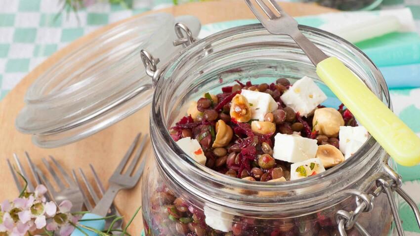 Salade de lentilles vertes à la feta et au miel