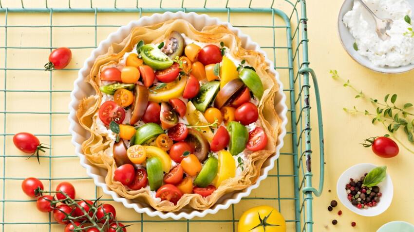 Tarte croustillante tomates et chèvre frais