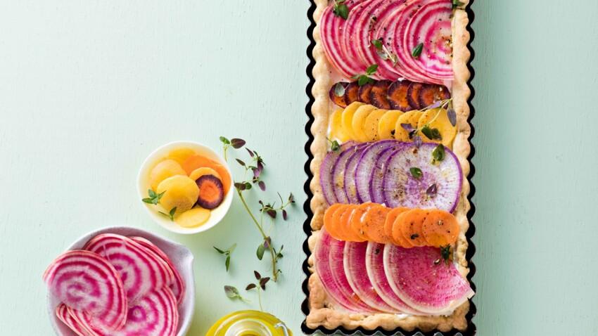Tarte rectangle, radis, betterave, carottes