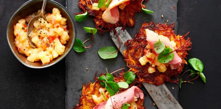 Röstis de patate douce au jambon et tartare d'ananas épicé