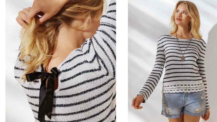 Le pull marin bordé de crochet