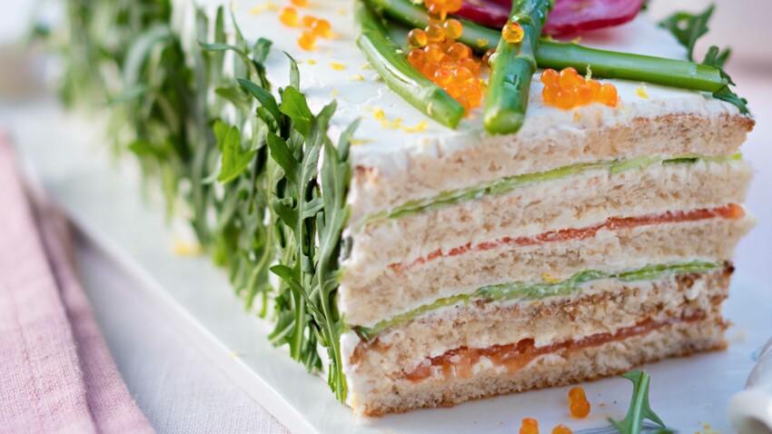Sandwich cake au saumon et concombre
