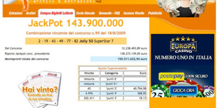 Loto : 146,9 millions d'euros à gagner samedi en Italie