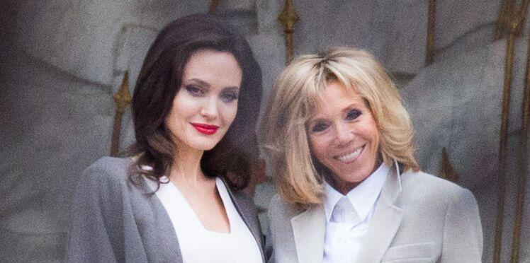 Photos – Brigitte Macron reçoit Angelina Jolie à l'Elysée