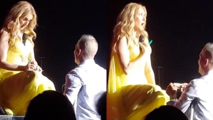 Céline Dion aguiche un fan en glissant un micro entre ses seins (vidéo)