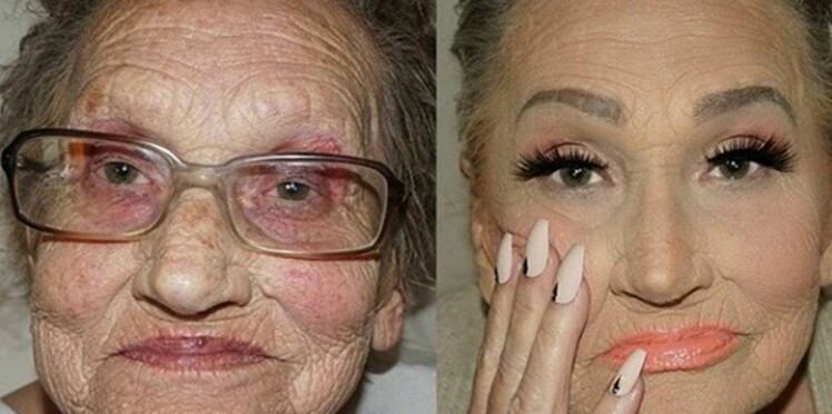 Photos : Elle transforme sa grand-mère de 80 ans grâce au maquillage