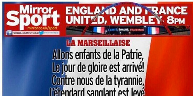 Match France-Angleterre : pour chanter tous ensemble, la Marseillaise en couverture d'un journal anglais