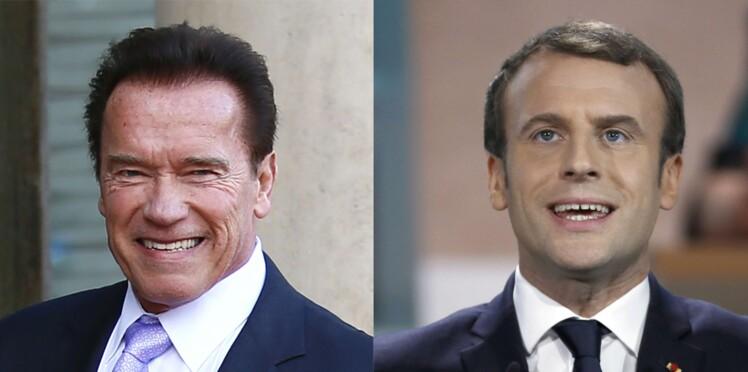 """Photo - Emmanuel Macron et Arnold Schwarzenegger s'éclatent entre """"amis"""""""