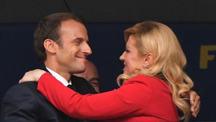 Photos – Emmanuel Macron et Kolinda Grabar-Kitarović, la présidente Croate, très complices lors de la finale de la Coupe du monde
