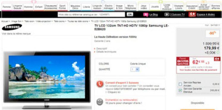 3 Suisses : un écran plat bradé à 179 euros !