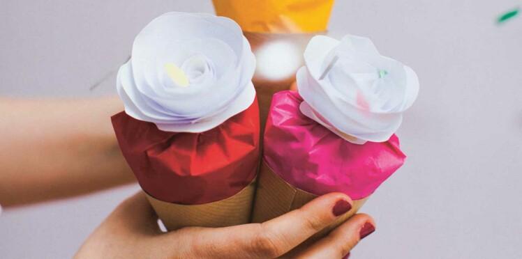 Déco mariage : je fabrique des cornets à confettis fleuris