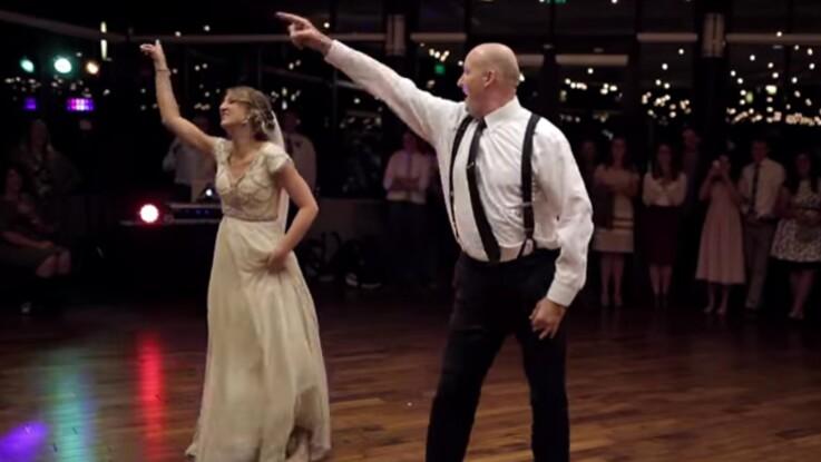 VIDEO – Une jeune mariée et son père se déchaînent sur la piste