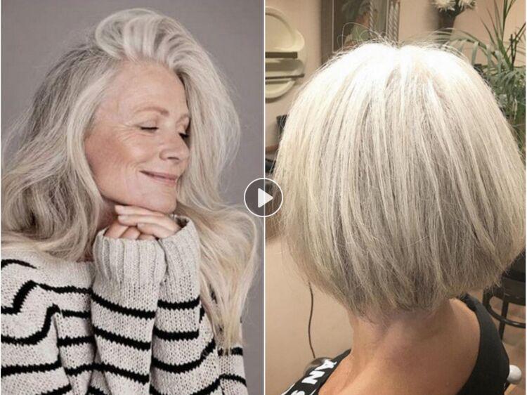Coiffure cheveux long gris