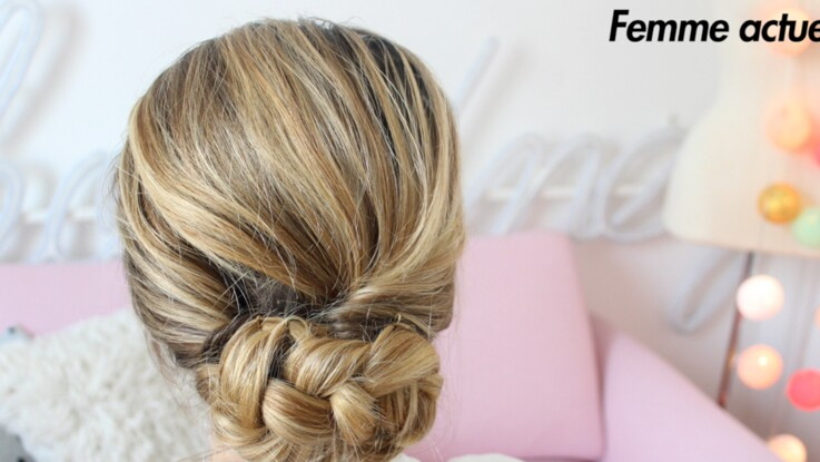 tutoriel coiffure le chignon bas femme actuelle le mag. Black Bedroom Furniture Sets. Home Design Ideas