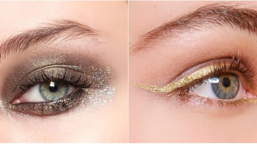 Maquillage de fête : smoky pailleté ou eyeliner doré ?