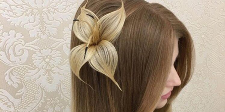 Ce coiffeur réalise une magnifique fleur avec des cheveux