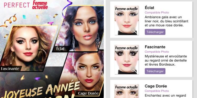 3 looks de fêtes Femme Actuelle sur YouCam Makeup