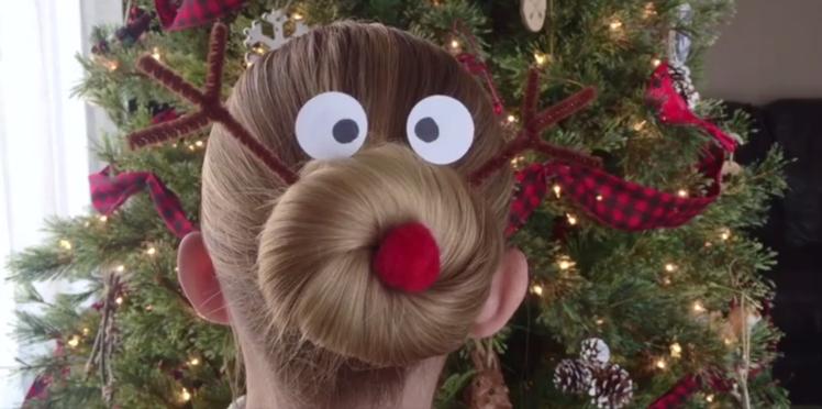 Tutoriel coiffure : le chignon renne de Noël