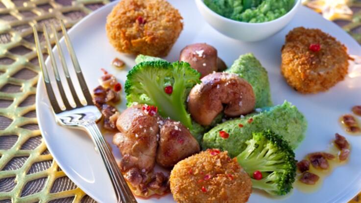 La recette des rognons de veau, émulsion au brocolis et croustillants de sole par Yves Camdeborde